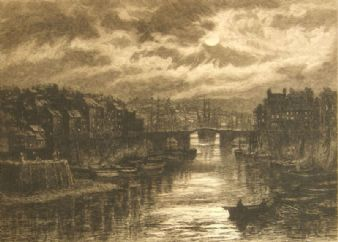 David Law pencil signed remarque proof; Whitby,1831